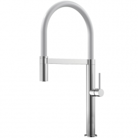 الفولاذ المقاوم للصدأ صنبور المطبخ خرطوم السحب / مطلي بالفرشاة / أبيض - Nivito SH-300